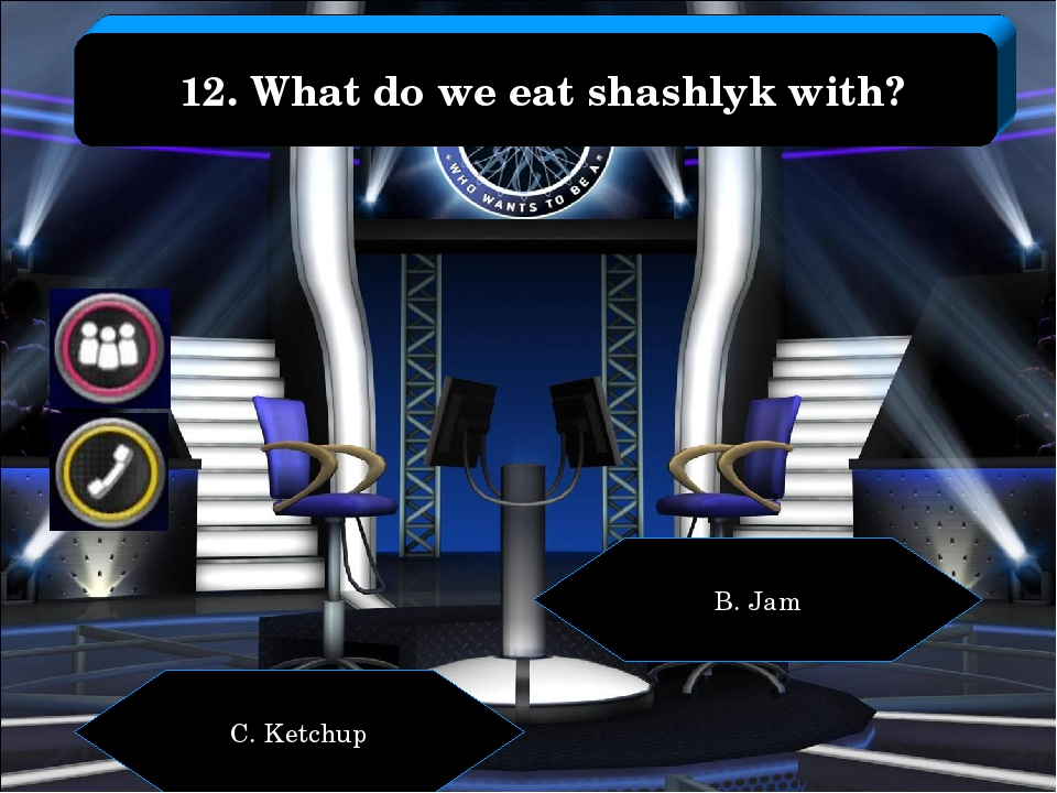 B. Jam C. Ketchup 12. What do we eat shashlyk with?