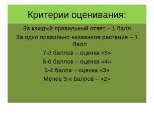 Критерии оценивания: За каждый правильный ответ – 1 балл За одно правильно на