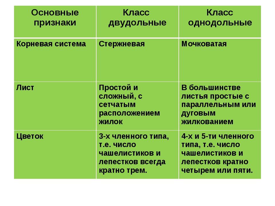 Основные признакиКласс двудольныеКласс однодольные Корневая системаСтержне...