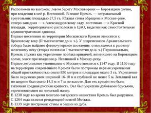 Расположен на высоком, левом берегу Москвы-реки— Боровицком холме, при впаде