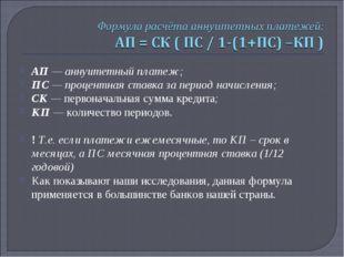 АП — аннуитетный платеж; ПС — процентная ставка за период начисления; СК — пе