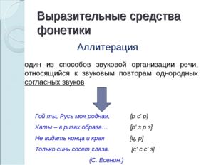 Выразительные средства фонетики Аллитерация один из способов звуковой организ