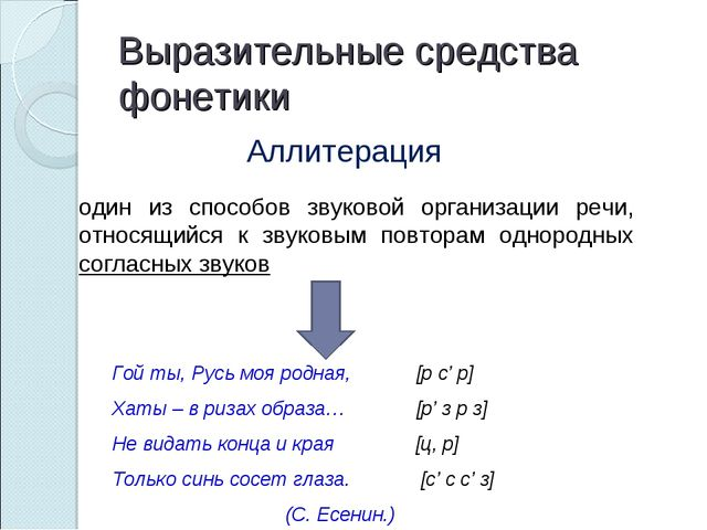 Выразительные средства фонетики Аллитерация один из способов звуковой организ...