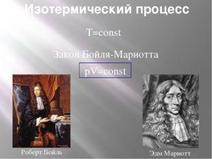 Изотермический процесс T=const pV=const Закон Бойля-Мариотта Роберт Бойль Эдм