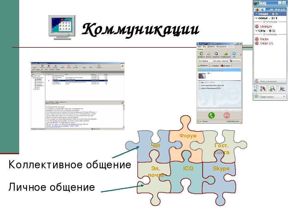 Коммуникации Коллективное общение Личное общение Форум ICQ   Гост. книга Sk...