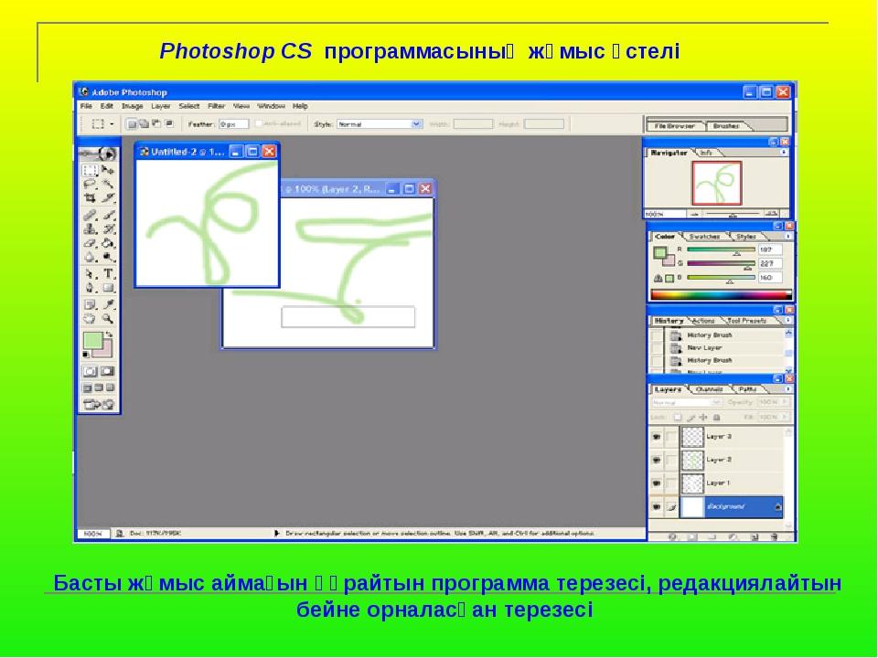 Photoshop CS программасының жұмыс үстелі Басты жұмыс аймағын құрайтын програ...