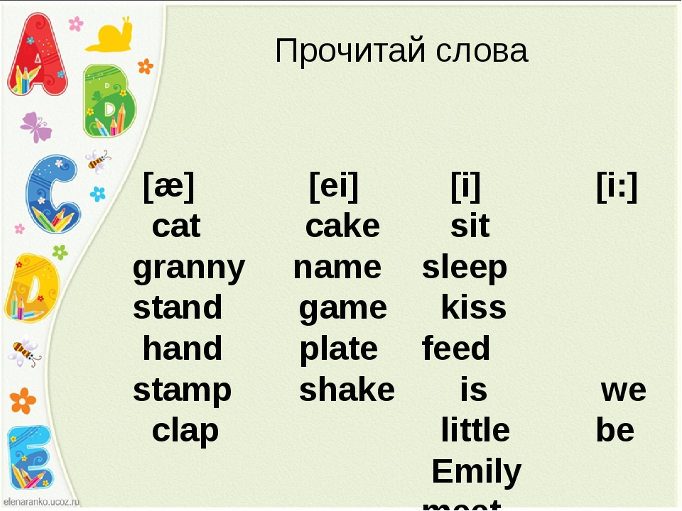 [æ] [ei] cat cake granny name stand game hand plate stamp shake clap Прочита...