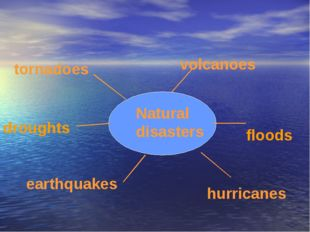 Natural disasters tornadoes volcanoes droughts earthquakes floods hurricanes