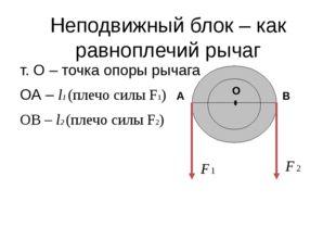 Неподвижный блок – как равноплечий рычаг т. О – точка опоры рычага ОА – l1 (п