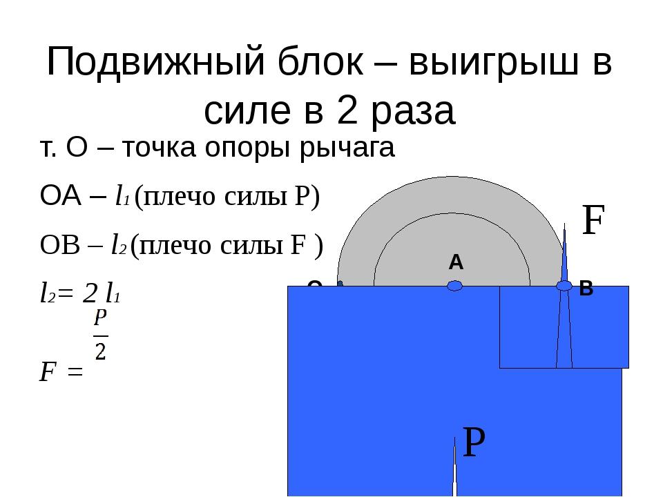 Подвижный блок – выигрыш в силе в 2 раза т. О – точка опоры рычага ОА – l1 (п...