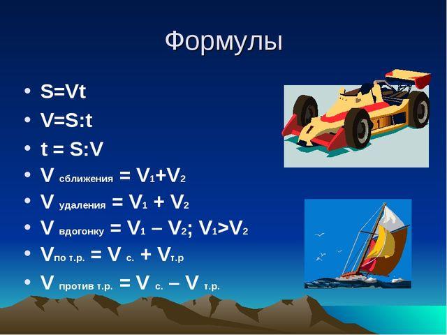 Формулы S=Vt V=S:t t = S:V V сближения = V1+V2 V удаления = V1 + V2 V вдогонк...