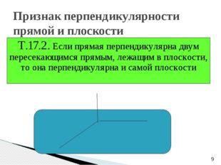 Признак перпендикулярности прямой и плоскости Т.17.2. Если прямая перпендику
