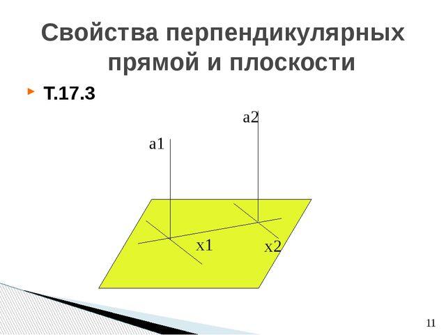 Свойства перпендикулярных прямой и плоскости Т.17.3 х1 а1 а2 х2