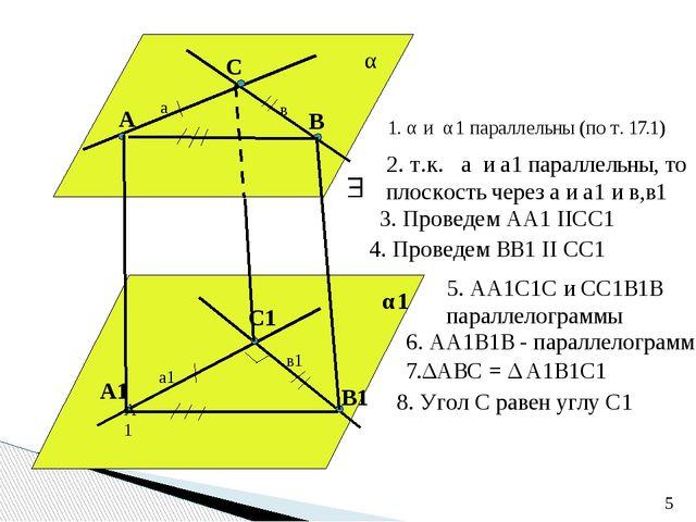 а в а1 в1 А В С А1 А1 С1 В1 α α1 1. α и α1 параллельны (по т. 17.1) 2. т.к....