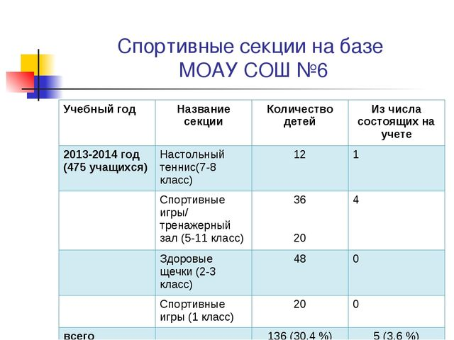 Спортивные секции на базе МОАУ СОШ №6 Учебный годНазвание секцииКоличество...