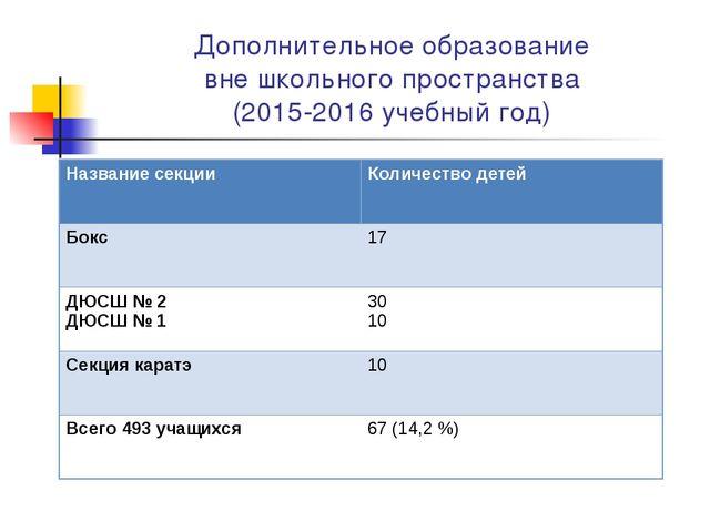 Дополнительное образование вне школьного пространства (2015-2016 учебный год)...