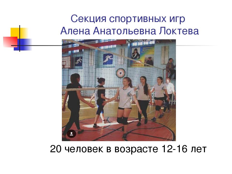 Секция спортивных игр Алена Анатольевна Локтева 20 человек в возрасте 12-16 лет