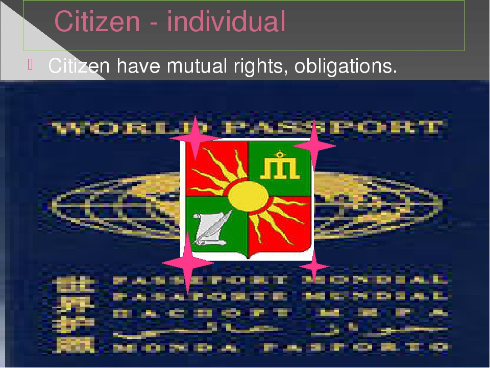 Citizen - individual Citizen have mutual rights, obligations.