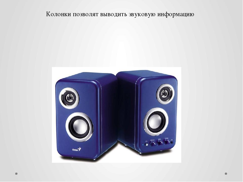 Колонки позволят выводить звуковую информацию