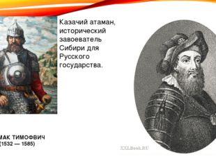 Казачий атаман, исторический завоеватель Сибири для Русского государства. ЕРМ