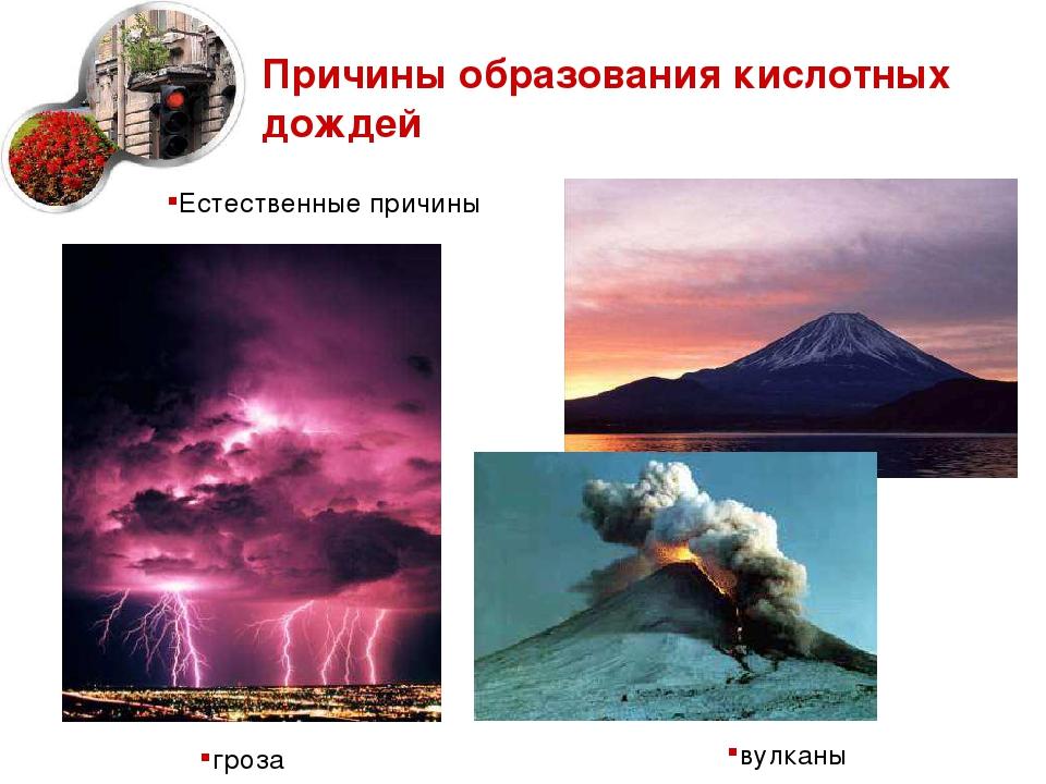 Причины образования кислотных дождей вулканы Естественные причины гроза