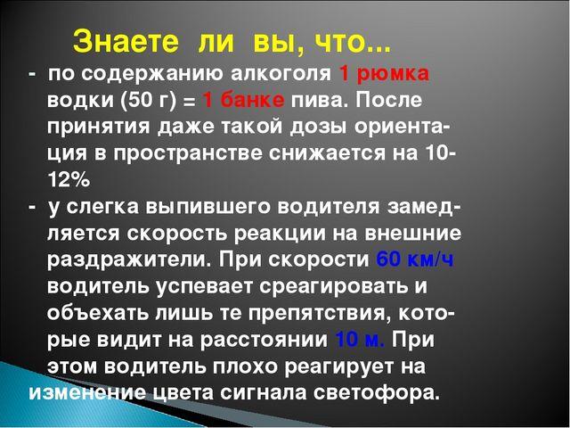 Знаете ли вы, что... - по содержанию алкоголя 1 рюмка водки (50 г) = 1 банке...