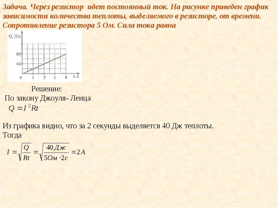 Задача. Через резистор идет постоянный ток. На рисунке приведен график зависи...