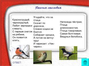 Птичья столовая ОТВЕТ: Красногрудый, чернокрылый, Любит зернышки клевать, С