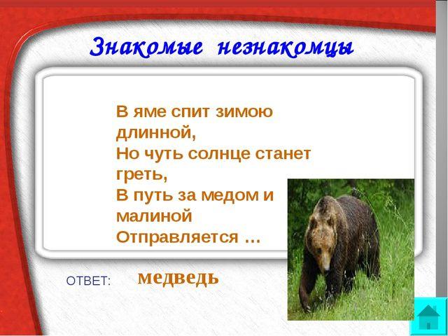 Знакомые незнакомцы ОТВЕТ: медведь В яме спит зимою длинной, Но чуть солнце...