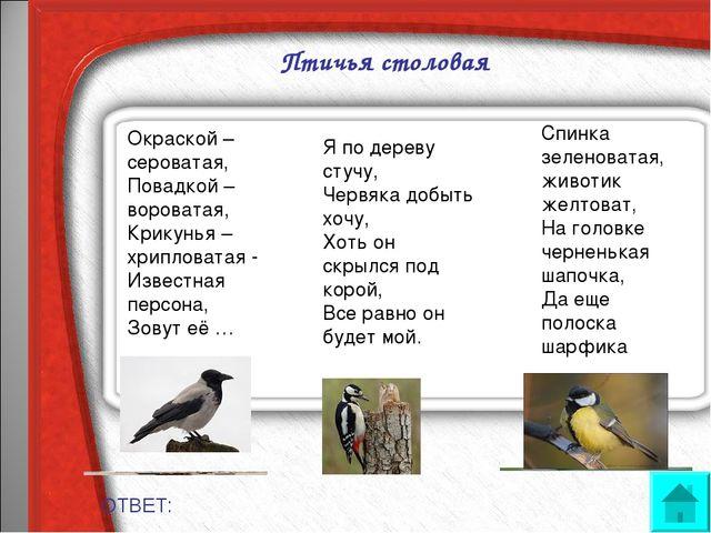Птичья столовая ОТВЕТ: Окраской – сероватая, Повадкой – вороватая, Крикунья...