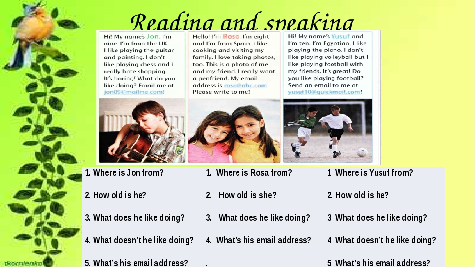 Reading and speaking 1. Where is Jon from? 1. Where is Rosa from? 1. Where i...