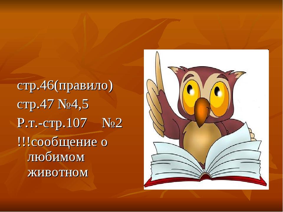 стр.46(правило) стр.47 №4,5 Р.т.-стр.107 №2 !!!сообщение о любимом животном