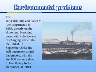 The Baykalsk Pulp and Paper Mill was constructed in 1966, directly on the sho