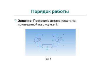 Порядок работы Задание: Построить деталь пластины, приведенной на рисунке 1.
