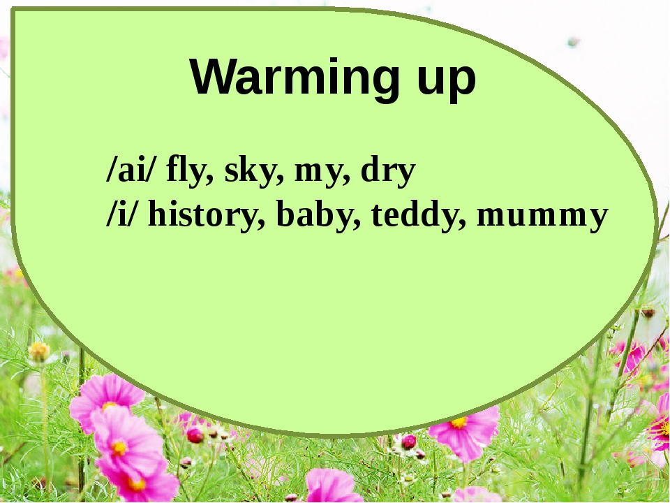 Warming up /ai/ fly, sky, my, dry /i/ history, baby, teddy, mummy