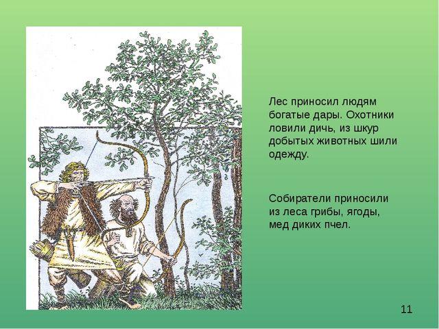 Лес приносил людям богатые дары. Охотники ловили дичь, из шкур добытых животн...