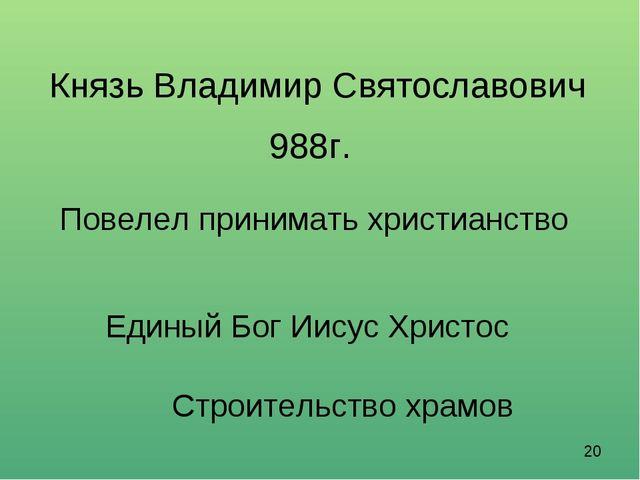 Князь Владимир Святославович 988г. Повелел принимать христианство Единый Бог...