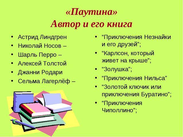 «Паутина» Автор и его книга Астрид Линдгрен Николай Носов – Шарль Перро – Але...
