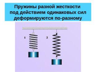 Пружины разной жесткости под действием одинаковых сил деформируются по-разному