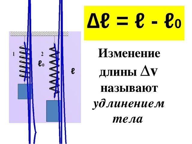 ∆ℓ = ℓ - ℓ0 ℓ0 ℓ Изменение длины ∆ℓ называют удлинением тела