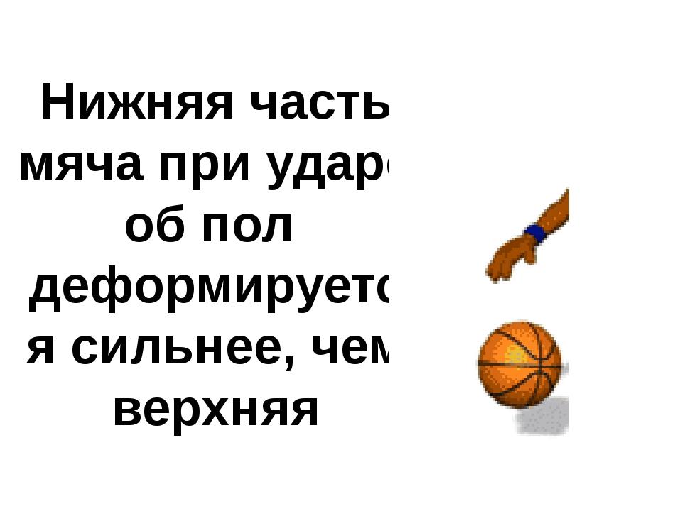 Нижняя часть мяча при ударе об пол деформируется сильнее, чем верхняя