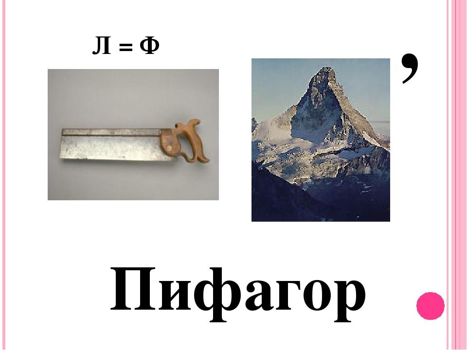 Пифагор Л = Ф ,