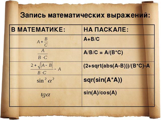 Запись математических выражений: