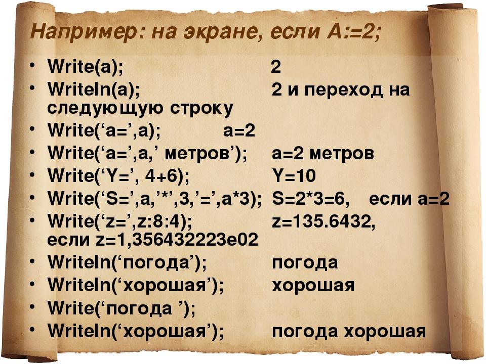Например: на экране, если А:=2; Write(a); 2 Writeln(a);2 и переход на с...