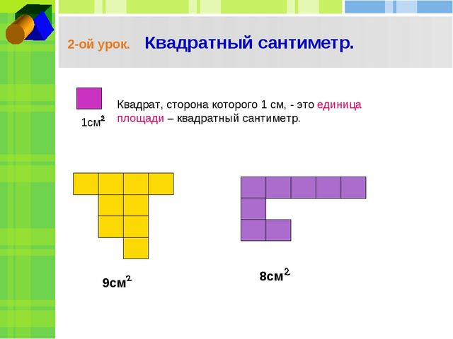 2-ой урок. Квадратный сантиметр. Квадрат, сторона которого 1 см, - это единиц...
