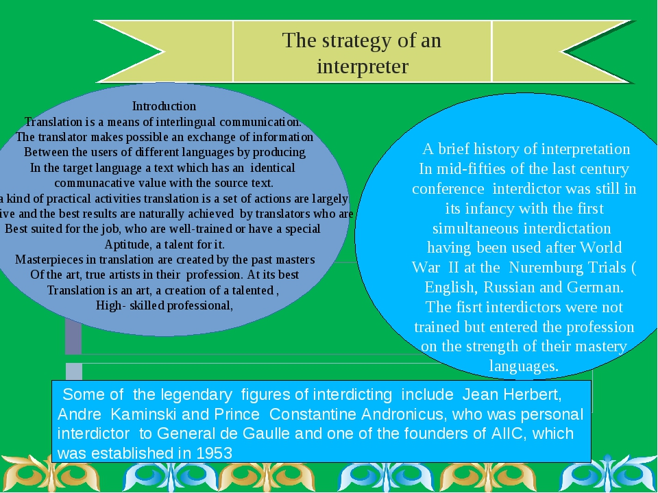 The strategy of an interpreter Introduction Translation is a means of interli...