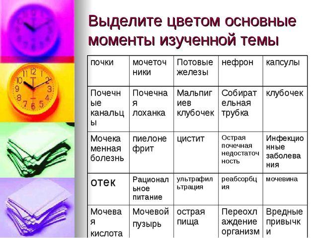 Выделите цветом основные моменты изученной темы
