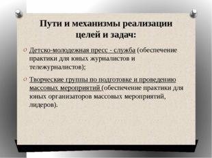 Пути и механизмы реализации целей и задач: Детско-молодежная пресс - служба (