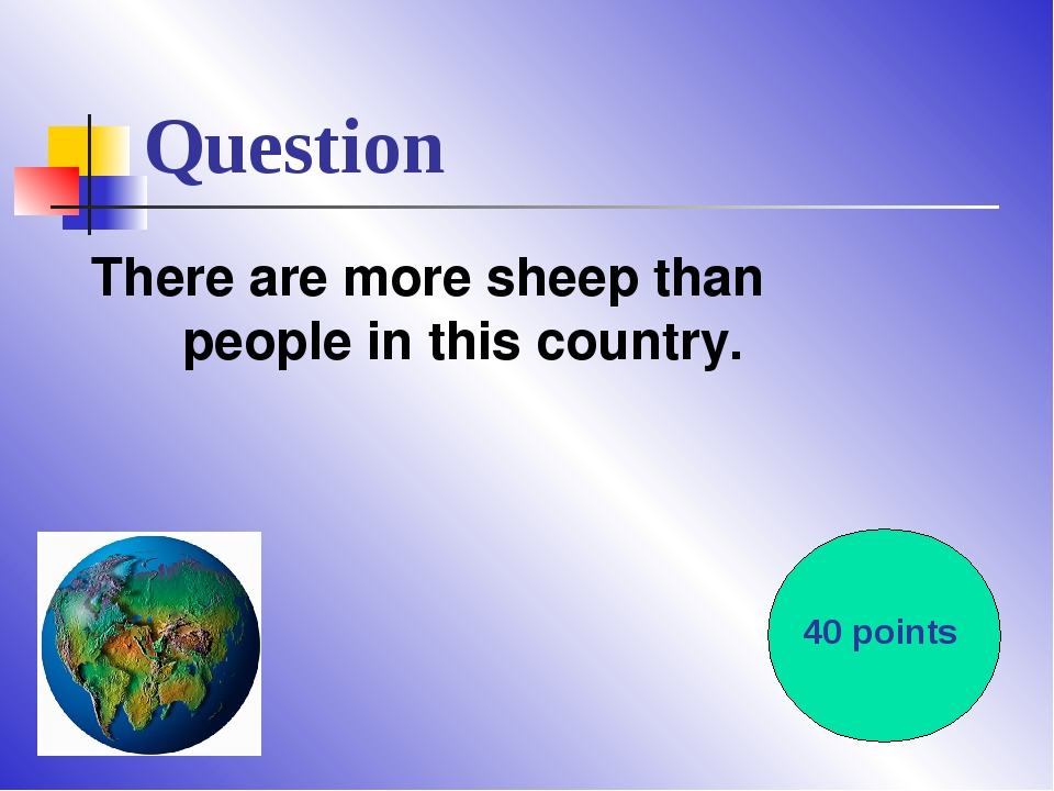 Question There are more sheep than people in this country. 40 points