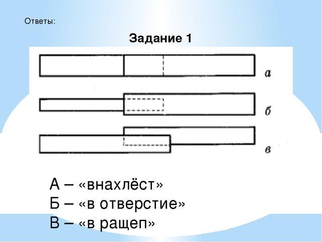 Задание 1 Ответы: А – «внахлёст» Б – «в отверстие» В – «в ращеп»